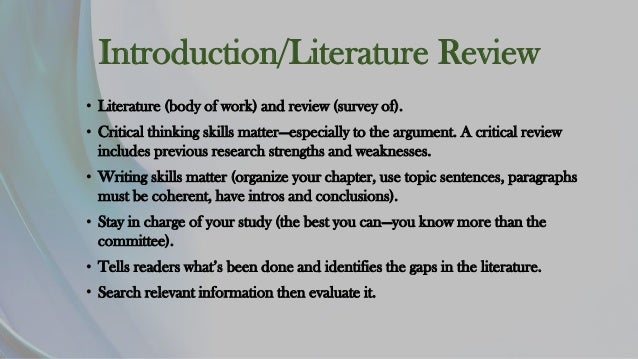 introduction of literature review chapter 2 literature review 21 introduction this chapter provides an overview of previous research on knowledge sharing and intranets it chapter 2: literature review.