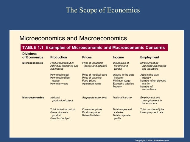 examples of microeconomics and macroeconomics Microeconomics is the study of particular markets, and segments of the economy it looks at issues such as consumer behaviour, individual labour markets, and the theory of firms macro economics is the study of the whole economy it looks at 'aggregate' variables, such as aggregate demand .