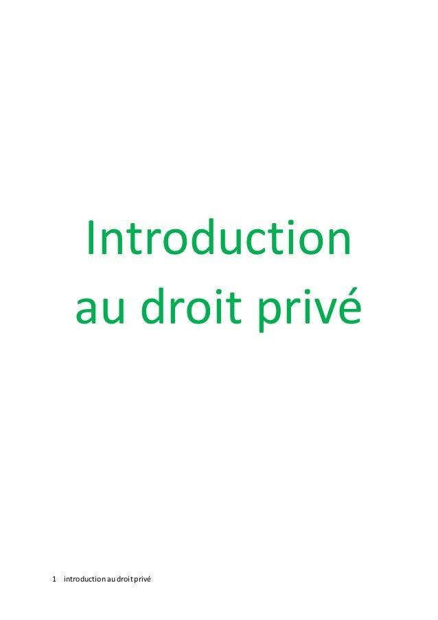 1 introductionaudroitprivé Introduction au droit privé