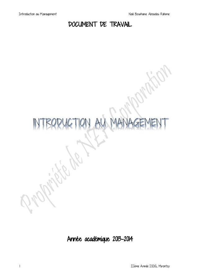 Introduction au Management Naili Bourhane Aboudou Rahime 1 IIème Année ISDG, Mirontsy DOCUMENT DE TRAVAIL Année académique...
