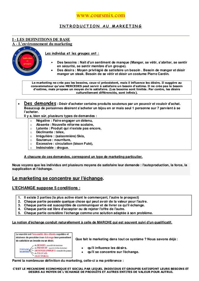 www.coursmix.com                               INTRODUCTION AU MARKETINGI - LES DEFINITIONS DE BASEA - Lenvironnement du m...