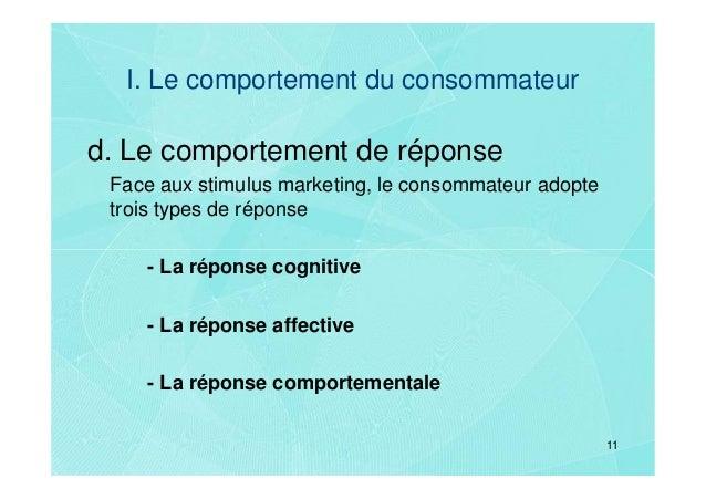 I. Le comportement du consommateurd. Le comportement de réponse Face aux stimulus marketing, le consommateur adopte trois ...