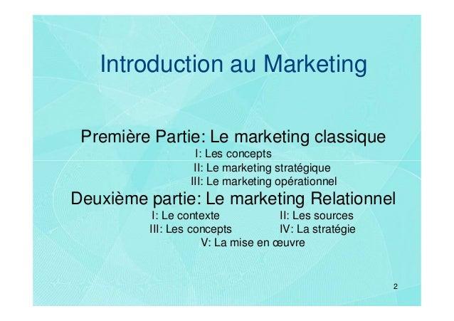 Introduction au Marketing Première Partie: Le marketing classique                   I: Les concepts                  II: L...
