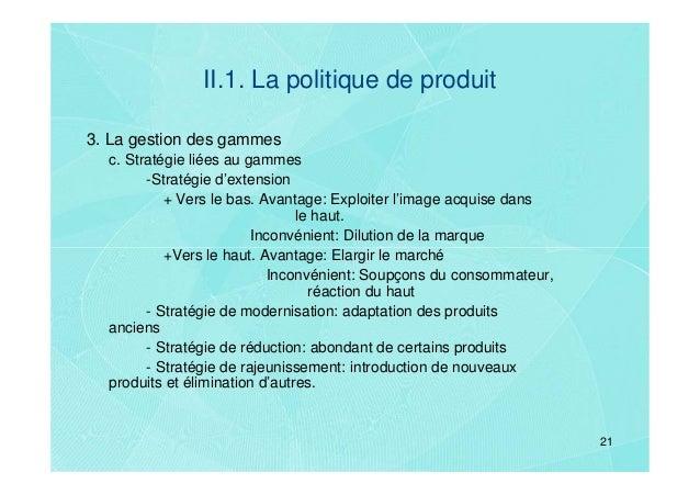 II.1. La politique de produit3. La gestion des gammes  c. Stratégie liées au gammes        -Stratégie d'extension         ...