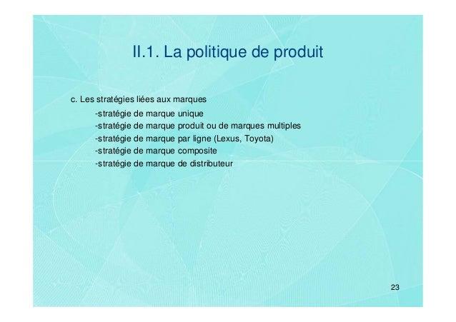 II.1. La politique de produitc. Les stratégies liées aux marques      -stratégie de marque unique      -stratégie de marqu...