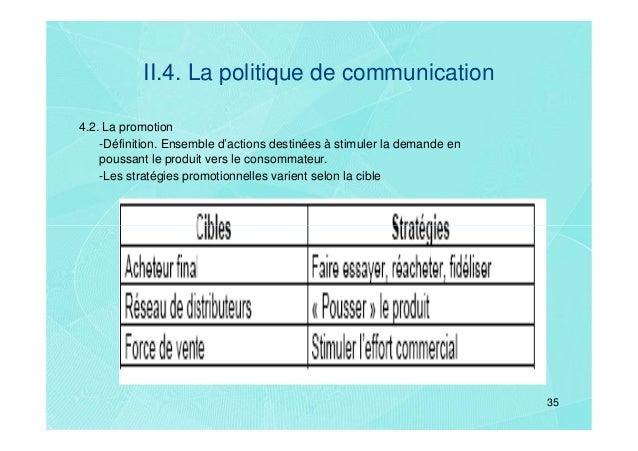 II.4. La politique de communication4.2. La promotion    -Définition. Ensemble d'actions destinées à stimuler la demande en...