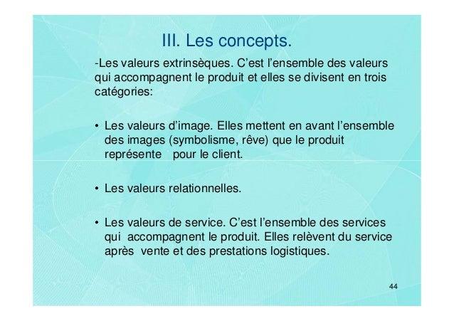 III. Les concepts.-Les valeurs extrinsèques. C'est l'ensemble des valeursqui accompagnent le produit et elles se divisent ...