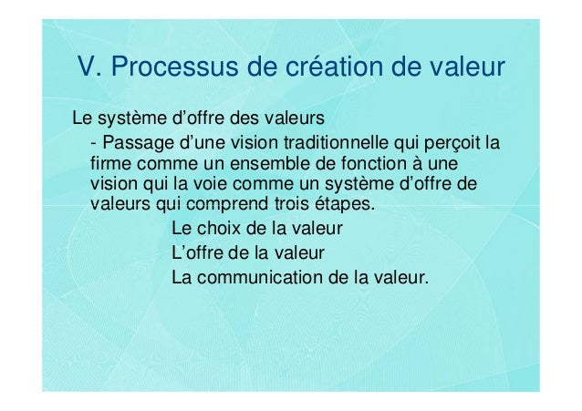 V. Processus de création de valeurLe système d'offre des valeurs  - Passage d'une vision traditionnelle qui perçoit la  fi...