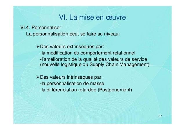 VI. La mise en œuvreVI.4. Personnaliser   La personnalisation peut se faire au niveau:         Des valeurs extrinsèques pa...
