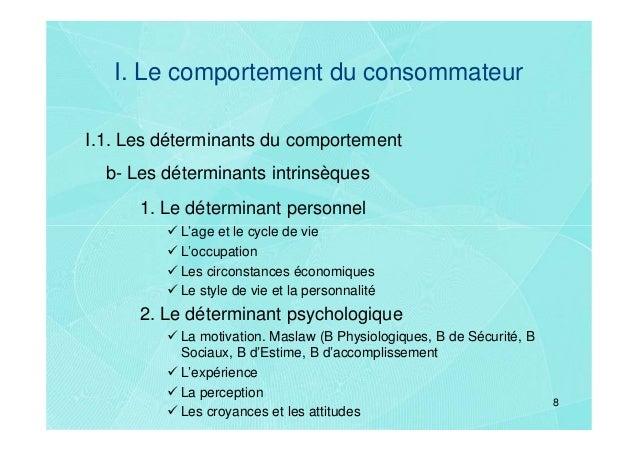 I. Le comportement du consommateurI.1. Les déterminants du comportement  b- Les déterminants intrinsèques      1. Le déter...
