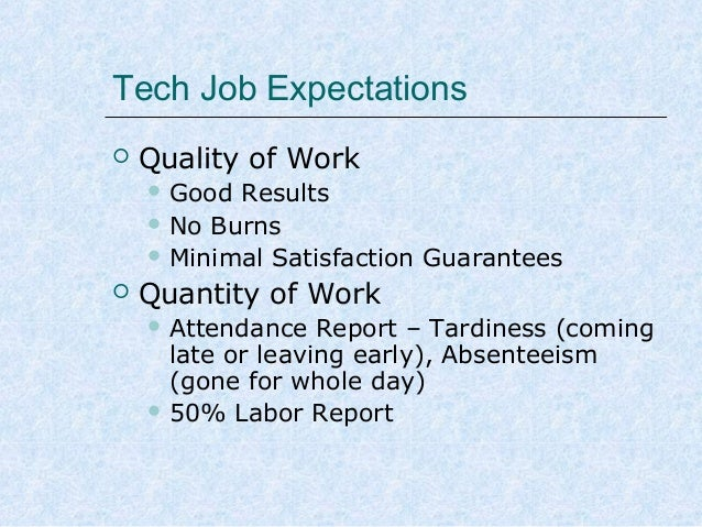 Tech Job Expectations   Quality of Work  Good  Results  No Burns  Minimal Satisfaction Guarantees   Quantity of Work ...