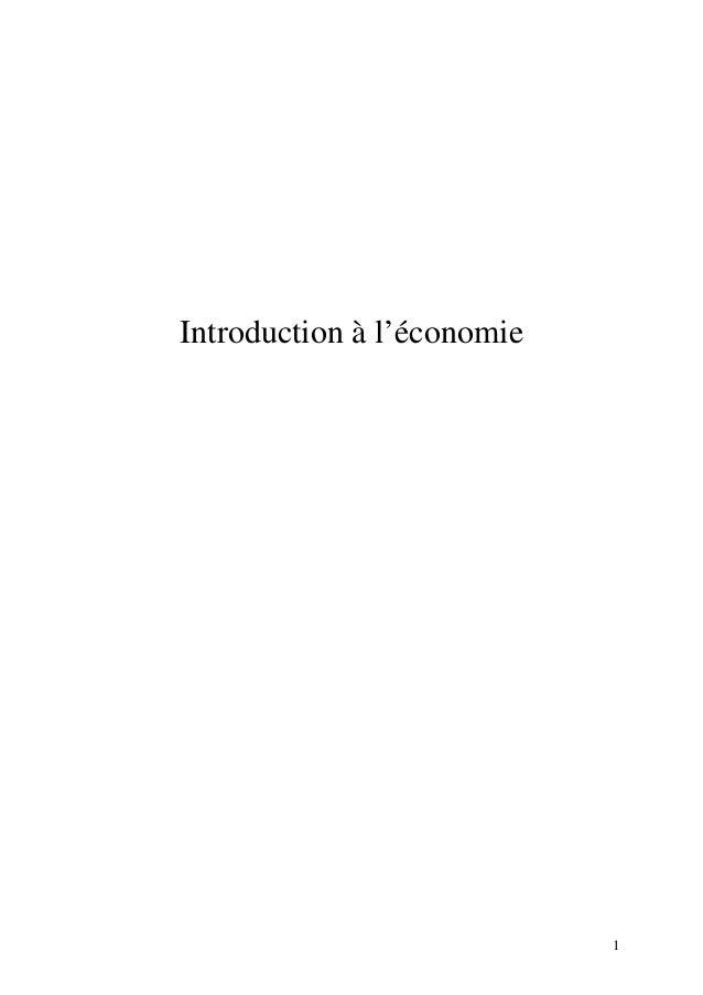 1  Introduction à l'économie