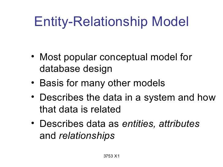 Entity-Relationship Model• Most popular conceptual model for  database design• Basis for many other models• Describes the ...
