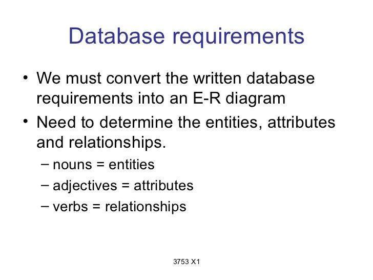 Database requirements• We must convert the written database  requirements into an E-R diagram• Need to determine the entit...