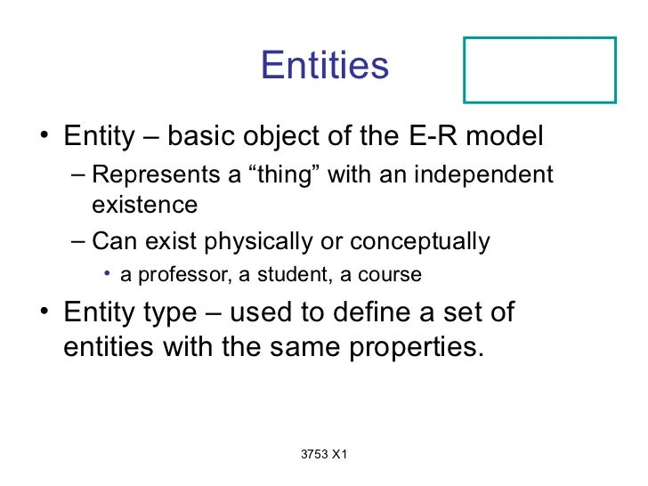"""Entities• Entity – basic object of the E-R model  – Represents a """"thing"""" with an independent    existence  – Can exist phy..."""