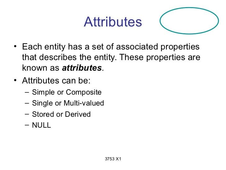 Attributes• Each entity has a set of associated properties  that describes the entity. These properties are  known as attr...