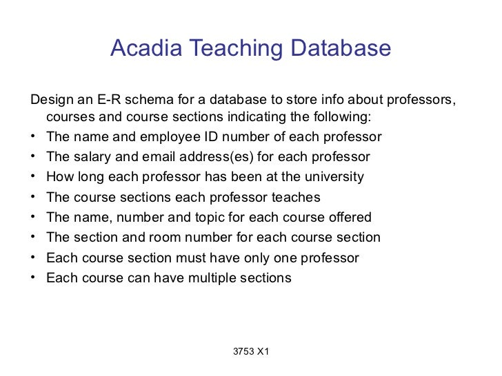 Acadia Teaching DatabaseDesign an E-R schema for a database to store info about professors,  courses and course sections i...