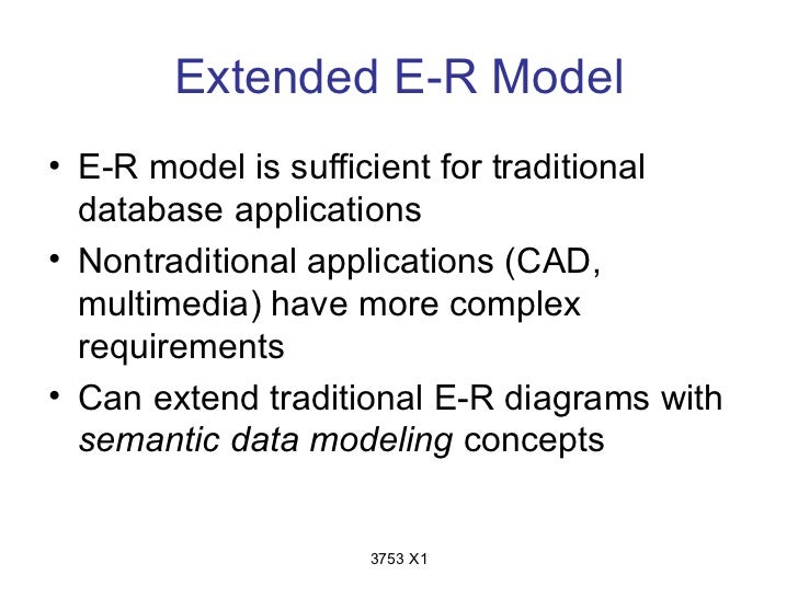 Extended E-R Model• E-R model is sufficient for traditional  database applications• Nontraditional applications (CAD,  mul...