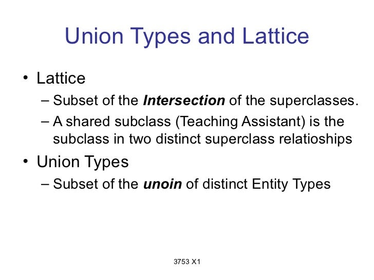 Union Types and Lattice• Lattice  – Subset of the Intersection of the superclasses.  – A shared subclass (Teaching Assista...