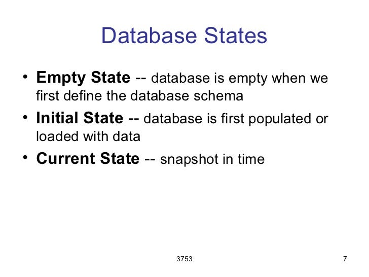 Database States• Empty State -- database is empty when we  first define the database schema• Initial State -- database is ...