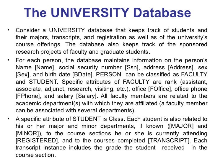 Introduction er eer 55 the university database ccuart
