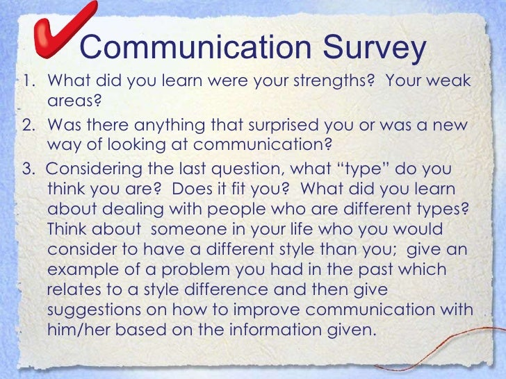 Communication Survey <ul><li>What did you learn were your strengths?  Your weak areas?  </li></ul><ul><li>Was there anythi...