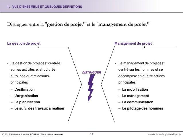 """Distinguer entre la """"gestion de projet"""" et le """"management de projet"""" La gestion de projet Management de projet • La gestio..."""