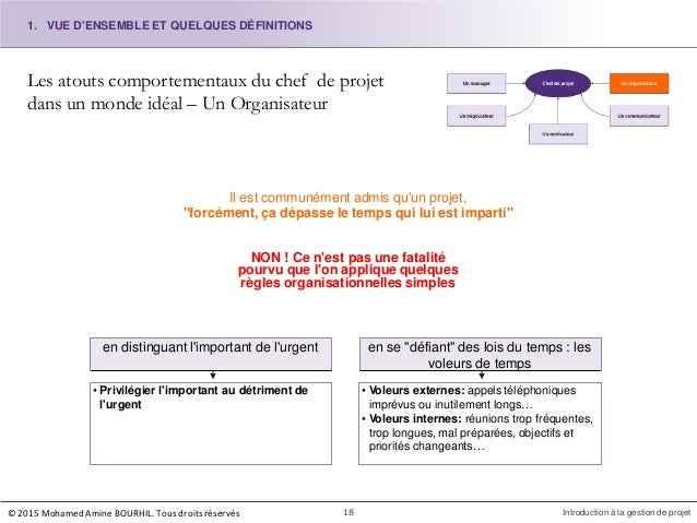 Les atouts comportementaux du chef de projet dans un monde idéal – Un Organisateur Il est communément admis qu'un projet, ...