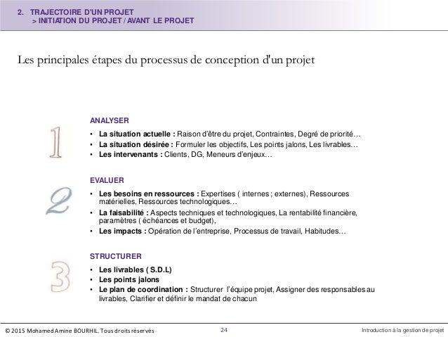 Les principales étapes du processus de conception d'un projet ANALYSER • La situation actuelle : Raison d'être du projet, ...