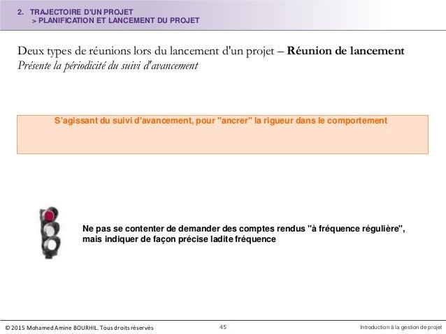 2. TRAJECTOIRE D'UN PROJET > PLANIFICATION ET LANCEMENT DU PROJET Deux types de réunions lors du lancement d'un projet – R...