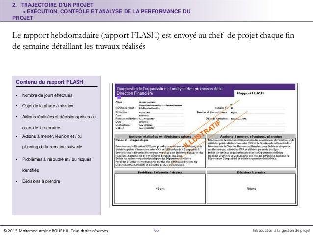 2. TRAJECTOIRE D'UN PROJET > EXÉCUTION, CONTRÔLE ET ANALYSE DE LA PERFORMANCE DU PROJET Le rapport hebdomadaire (rapport F...