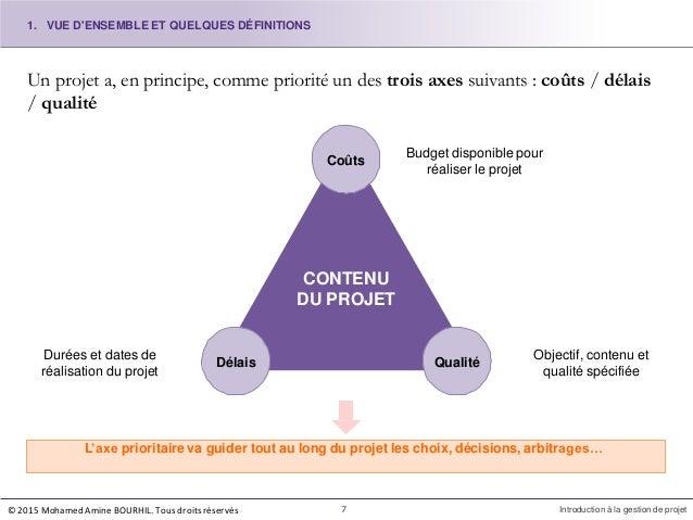 Un projet a, en principe, comme priorité un des trois axes suivants : coûts / délais / qualité L'axe prioritaire va guider...