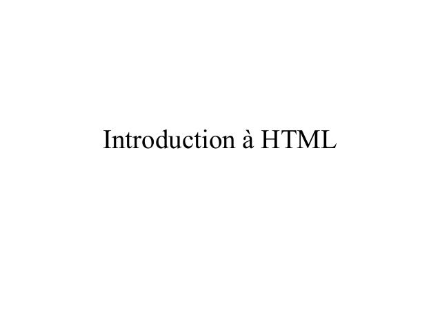 Introduction à HTML