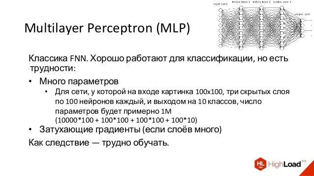 Multilayer Perceptron (MLP) Классика FNN. Хорошо работают для классификации, но есть трудности: • Много параметров • Для с...