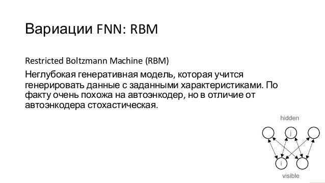 Вариации FNN: RBM Restricted Boltzmann Machine (RBM) Неглубокая генеративная модель, которая учится генерировать данные с ...
