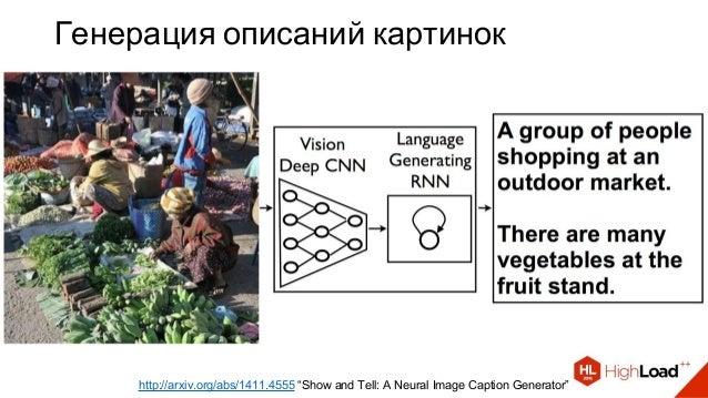 "Генерация описаний картинок http://arxiv.org/abs/1411.4555 ""Show and Tell: A Neural Image Caption Generator"""