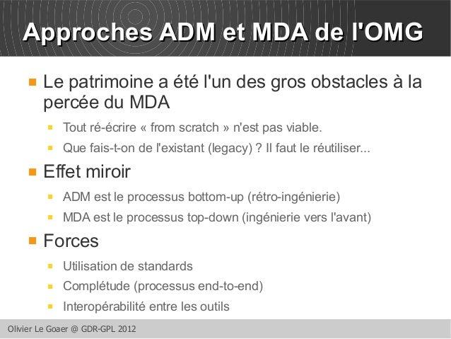 AApppprroocchheess AADDMM eett MMDDAA ddee ll''OOMMGG   Le patrimoine a été l'un des gros obstacles à la  percée du MDA  ...