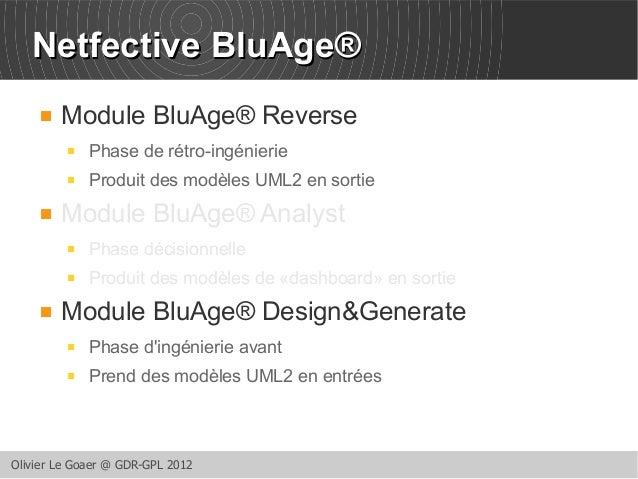 NNeettffeeccttiivvee BBlluuAAggee®   Module BluAge® Reverse   Phase de rétro-ingénierie   Produit des modèles UML2 en s...