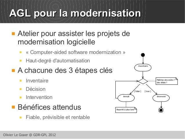 AAGGLL ppoouurr llaa mmooddeerrnniissaattiioonn   Atelier pour assister les projets de  modernisation logicielle   « Com...