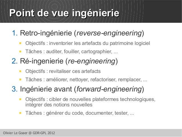 PPooiinntt ddee vvuuee iinnggéénniieerriiee  1. Retro-ingénierie (reverse-engineering)   Objectifs : inventorier les arte...