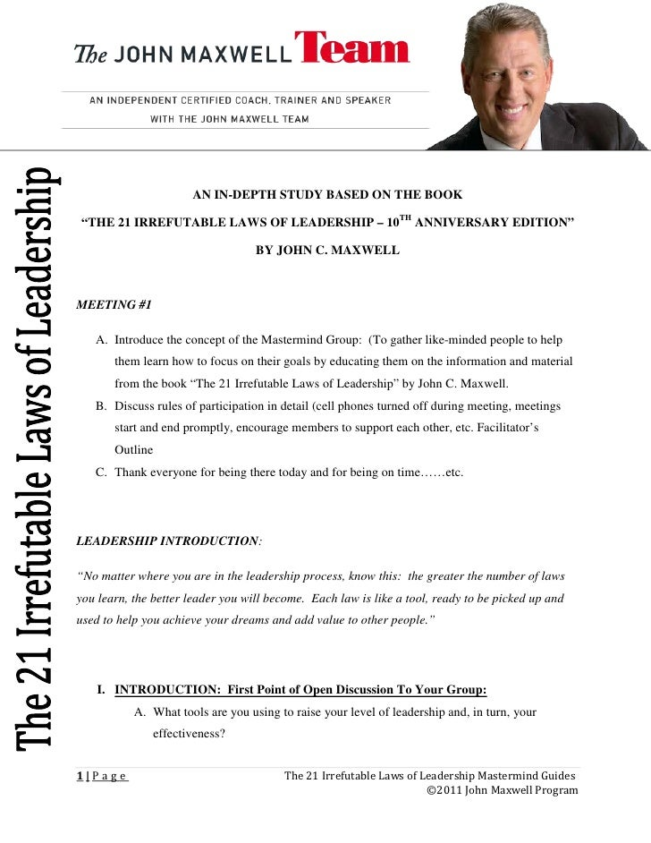 """AN IN-DEPTH STUDY BASED ON THE BOOK""""THE 21 IRREFUTABLE LAWS OF LEADERSHIP – 10TH ANNIVERSARY EDITION""""                     ..."""