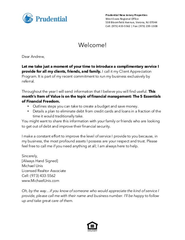Introduction Letter Client Appreciation Program
