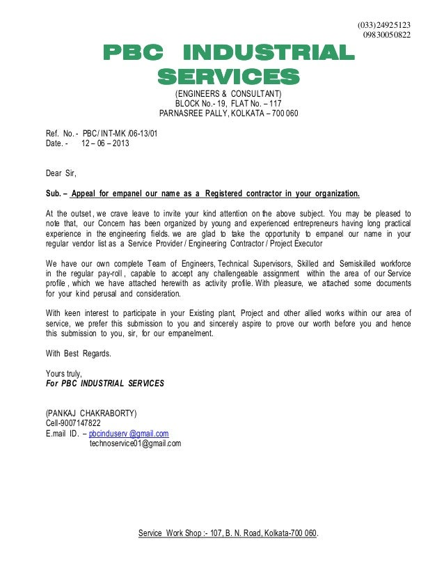 Letter Of Introduction Contractor