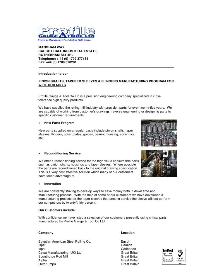 Introduction Letter - Precision Spares For Rolling Mills