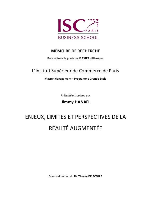 MÉMOIRE DE RECHERCHE Pour obtenir le grade de MASTER délivré par L'Institut Supérieur de Commerce de Paris Master Manageme...