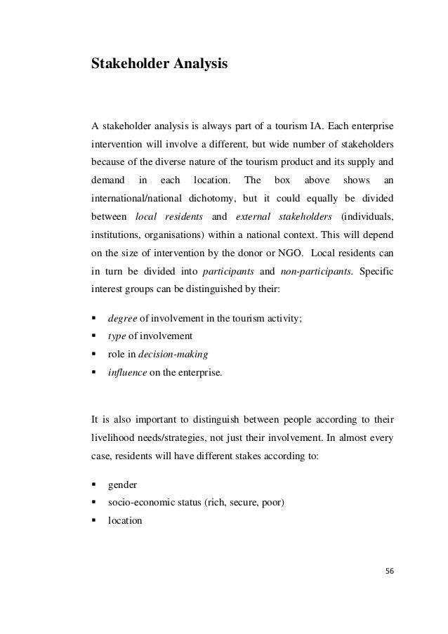 stakeholder analysis in hotel Hilton hotels main stakeholders and their interests stakeholders of company's including hilton hotels & resorts can be divided into two categories: internal and external.