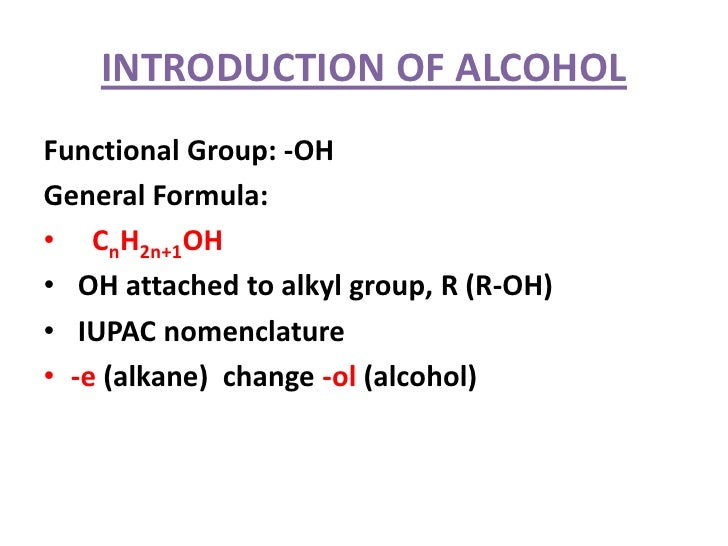 Introduction Of Alcohol