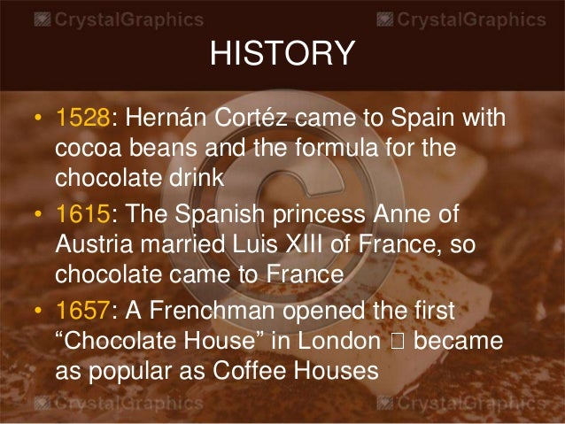 an introduction to the history and the distribution of cocoa Cocoa, the food of the gods and the electuary of lovers, has captivated humanity with its exotic flavor and sensuous mouth feel well done, bravo.