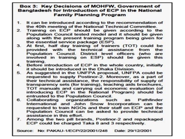 Introduction of ECP in Bangladesh