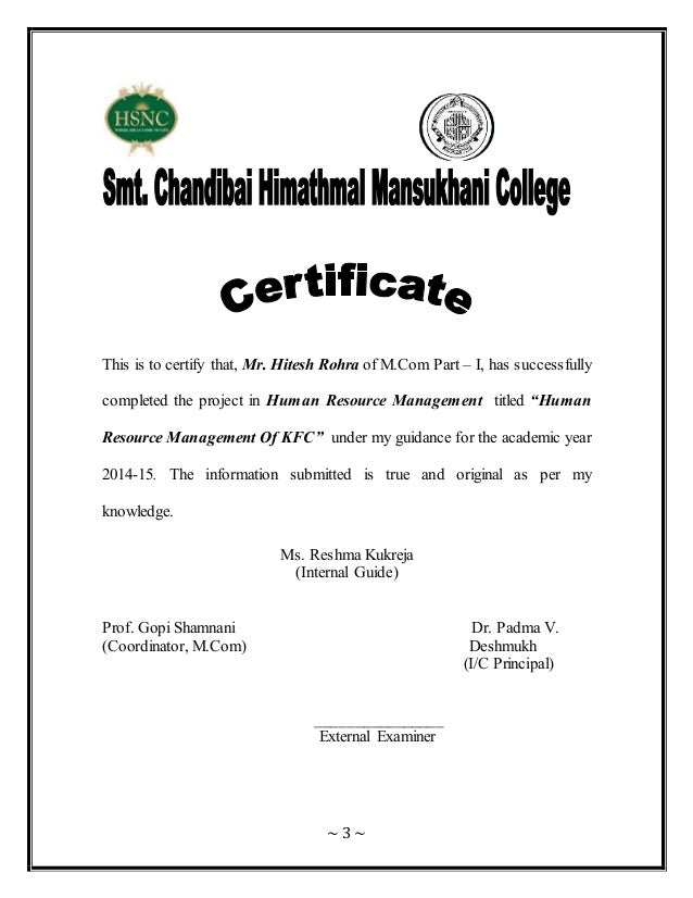 Human resource management for kfc